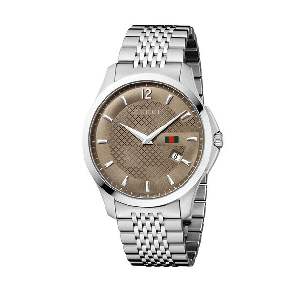 a76eee84a85 Shop Gucci Men s  G-Timeless  Slim Case Brown Dial Watch - Free Shipping  Today - Overstock - 8330962