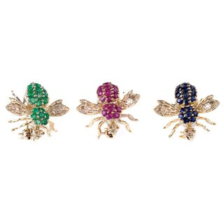 Kabella Luxe 10k Yellow Gold Gemstone Honey Bee Brooch (3 options available)