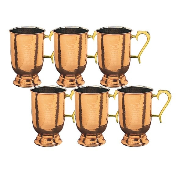 Solid Hammered Copper Brass-handled Tankards (Set of 6)