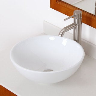Elite High Temperature Ceramic Bathroom Sink with Round Design and Brushed Nickel Finish Faucet Combo