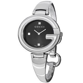 Gucci Women's YA134301 'Guccisima' Black Dial Stainless Steel Bangle Watch