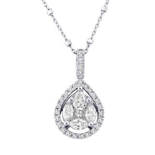 Beverly Hills Charm 14k White Gold 1ct TDW Pear Shape Diamonds Halo Necklace (H-I, SI2-I1)