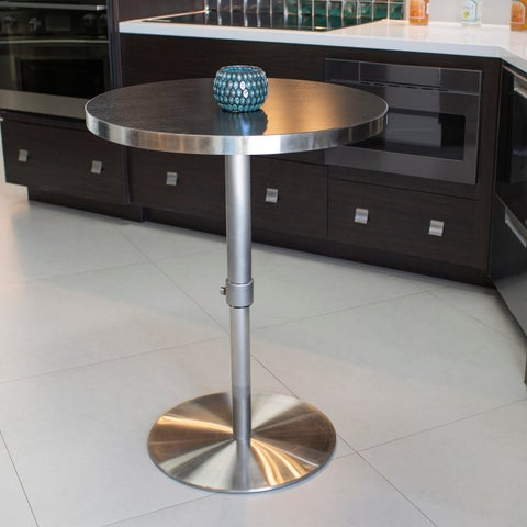 MIX 26 - 36-inch Adjustable Height Round Espresso Wood Melamine Veneer Brushed Stainless Steel Pub Table with Round Slab Base