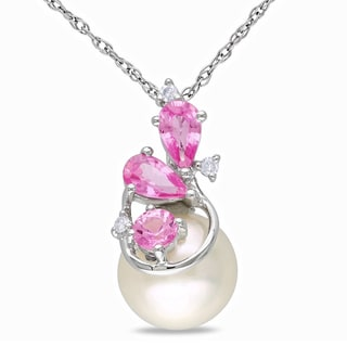 Miadora 10k White Gold Cultured Freshwater Pearl, Pink Sapphire and Diamond Necklace (H-I, I2-I3) (8.5-9 mm)