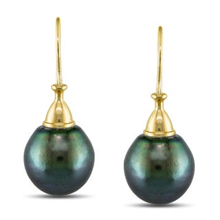 Miadora 10k Yellow Gold Tahitian Pearl Drop Earrings (11-12 mm)