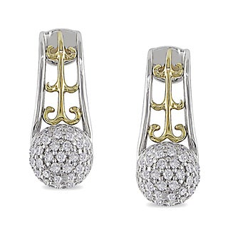 Miadora Sterling Silver and 10k Yellow Gold 1/4ct TDW Diamond Earrings (H-I, I2-I3)