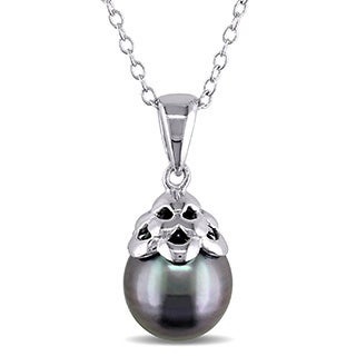 Miadora Sterling Silver Tahitian Black Pearl Necklace (9-10 mm)