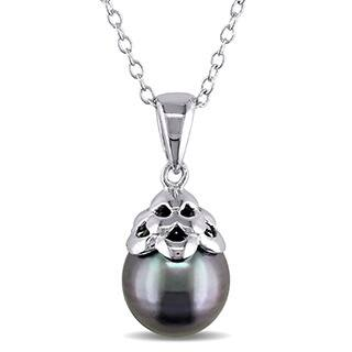 Buy tahitian pearl necklaces online at overstock our best miadora sterling silver tahitian black pearl necklace 9 10 mm aloadofball Gallery