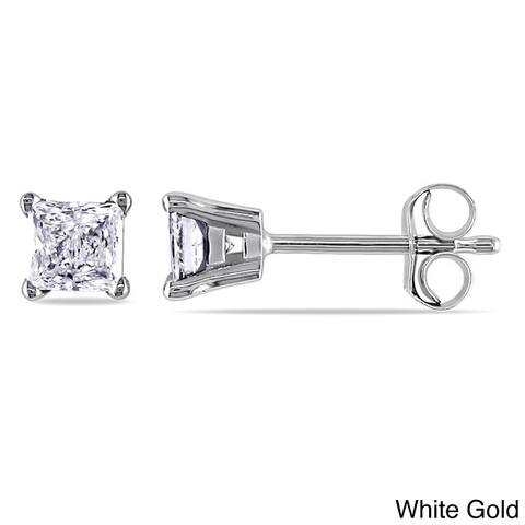 Miadora 14k Gold 1/2ct Princess-Cut Diamond Solitaire Stud Earrings