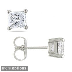 Miadora Signature Collection 14k Gold 1 1/2ct TDW Princess-cut Diamond Stud Earrings