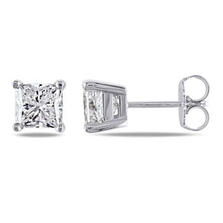 Miadora Signature Collection 14k Gold 2ct TDW Princess-cut Diamond Stud Earrings