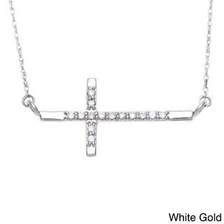 10k Gold 1/10ct TDW Diamond Sideways Cross Necklace