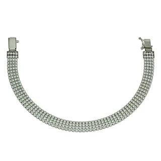 Sterling Silver Clear Cubic Zirconia 4-row Silk-style Bracelet