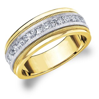 14k Gold Men's 1ct TDW Machine-set Diamond Milgrain Band