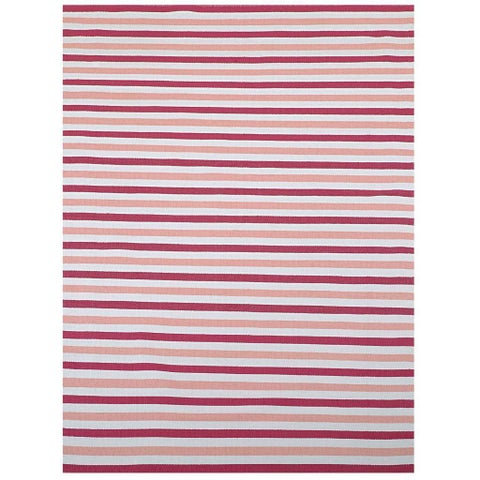Pink/ Beige Outdoor Reversible Patio Rug - 1'8 x 8'