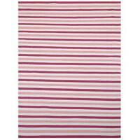 Pink/ Beige Outdoor Reversible Patio Rug - 1'8 x 8'