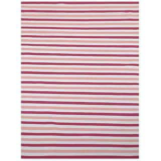 Pink/ Beige Outdoor Reversible Patio Rug