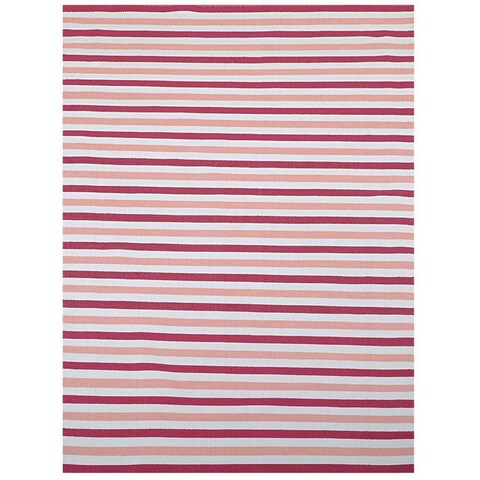 Pink/ Beige Outdoor Reversible Patio Rug - 1'8 x 5'
