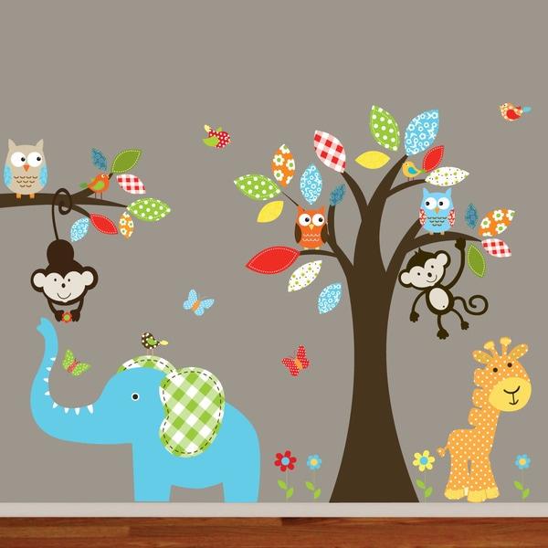Shop Nursery Wall Art Colorful Safari Animal Owl Tree