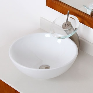 Elite High Temperature Ceramic Bathroom Sink with Unique Round Design and Bushed Nickel Finish Waterfall Faucet Combo