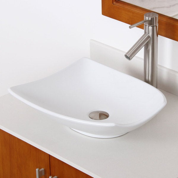 Elite Brushed Nickel Trapeziform High Temperature Ceramic Bathroom Sink And F