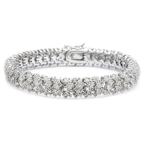 Finesque Silver or Gold Overlay 1ct TDW Diamond Bracelet (I-J, I2-I3)