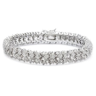 Finesque Silver or Gold Overlay 1ct TDW Diamond Bracelet (More options available)