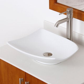 Elite High Temperature Ceramic Bathroom Sink with Trapeziform Design and Brushed Nickel Finish Faucet Combo