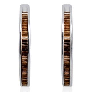 Sterling Silver 1ct Baguette-cut Champagne Diamond Hoop Earrings