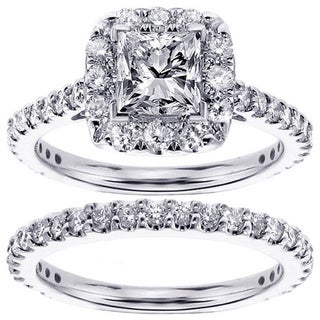 14k 18k gold or platinum 2 15ct tdw diamond bridal ring set - Platinum Wedding Ring Sets