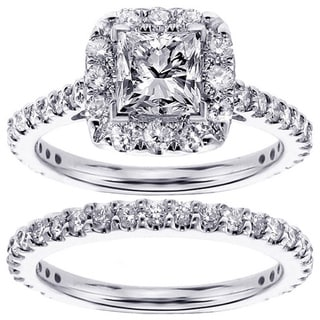 14k White Gold 2 1/5ct TDW Diamond Bridal Ring Set