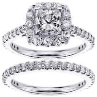 14k White Gold 2 1/5ct TDW Diamond Bridal Ring Set