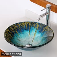 Elite Modern Design Tempered Glass Bathroom Vessel Sink and Faucet Combo