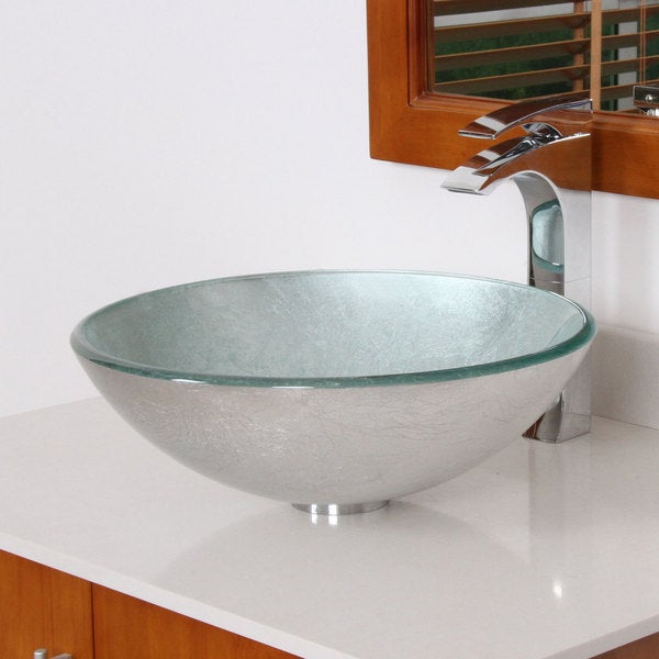 Elite Modern Tempered Glass Bathroom Vessel Sink with Silver Wrinkles Pattern