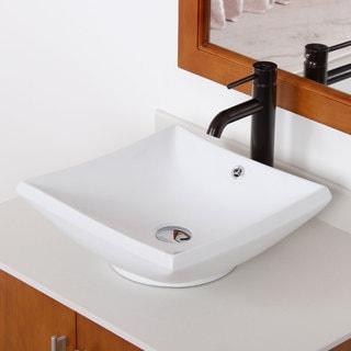 Elite High Temperature Grade A Square Ceramic Bathroom Sink and Oil Rubbed Bronze Finish Faucet Combo