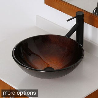Elite Modern Design Tempered Glass Bathroom Vessel Sink with Faucet Combo