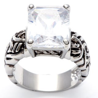 City by City Silvertone Large Cushion-cut Clear Cubic Zirconia Ring