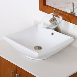 Elite High Temperature Ceramic Square Bathroom Sink and Bushed Nickel Finish Waterfall Faucet Combo