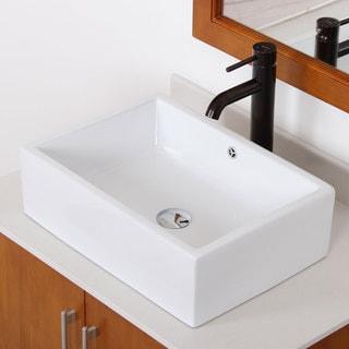 Elite High Temperature Ceramic Rectangle Bathroom Sink/ Oil Rubbed Bronze Finish Faucet Combo