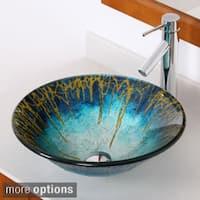 Elite Modern Design Tempered Glass Bathroom Vessel Sink/ Faucet Combo 13092659