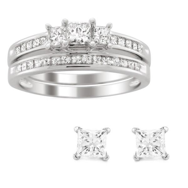 Montebello Platinum 1ct TDW Princess-cut Diamond Bridal Ring Set with Bonus 1/5ct TDW Earrings (H-I, I1-I2)