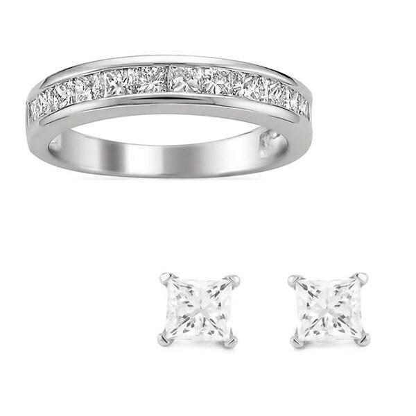 Montebello Platinum 1ct TDW Princess Channel-set Wedding Band with Bonus Diamond Earrings