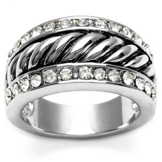 City by City Silvertone Clear Cubic Zirconia Rope Ring