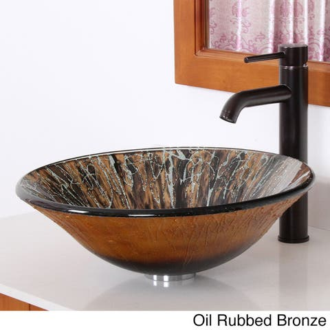 Elite Hand Painted Art Bell-shaped Tempered Glass Bathroom Vessel Sink Faucet Combo 1310F371023