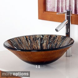 Elite Hand Painted Art Bell-shaped Tempered Glass Bathroom Vessel Sink/ Faucet Combo 13102659BN