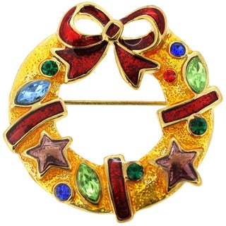 Goldtone Gemstone and Enamel Christmas Wreath Pin Brooch
