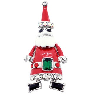 Silvertone Enamel and Gemstone Christmas Santa Claus Pin Brooch