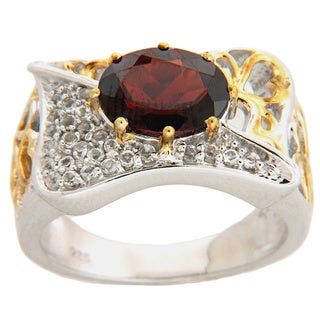 14k Yellow Gold over Sterling Silver Garnet and White Topaz Ring