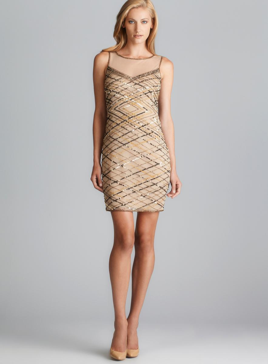Shop Pisarro Nights Sequin & Bead Sheer Neckline Dress - Free ...