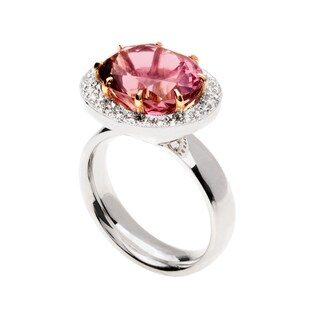 14k Two-tone Gold Oval-cut Pink Tourmaline and 1/2ct TDW Diamond Halo Ring (G-H, VS1-VS2)